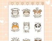 SELF-CARE ANIMAL stickers - matte vinyl sticker sheet - 9 cute motivational animals stickers, kawaii animal stickers, inspirational stickers