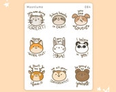 Self care animal stickers - 9 cute motivational animal stickers, kawaii animal stickers, inspirational stickers, encouraging stickers, 084