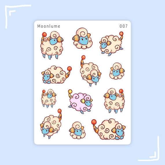 Stickers Pokemon.Mareep Stickers 12 Cute Pokemon Stickers For Bullet Journals And Planners Pokemon Mareep Sticker Sheet Sheep Stickers 007