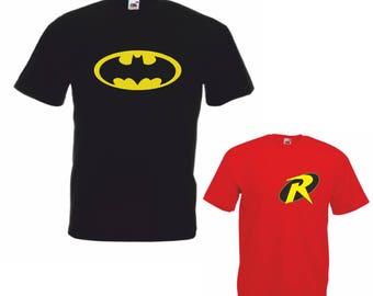 95f1971cf BATMAN n ROBIN Men's & Boy's T Shirts Ideal fathers day Christmas present  for father and son super hero birthday gift