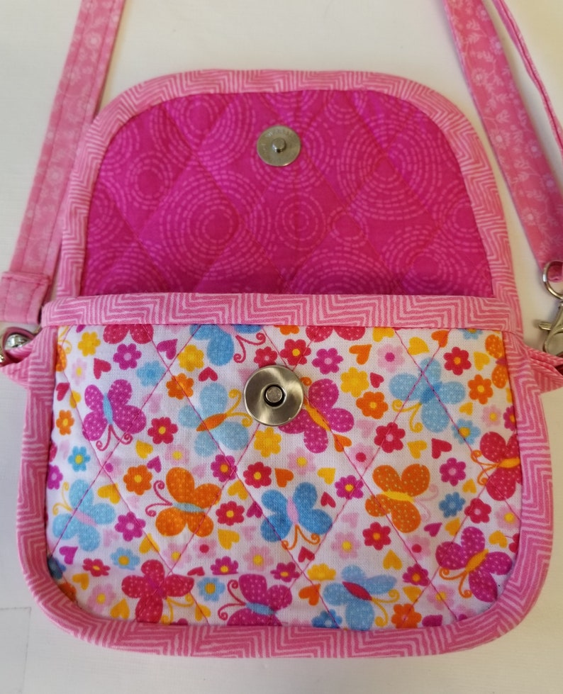 Soft quilted purse fits a cell phone credit card pockets zippered pouch CrossbodyClutch PurseCell phone adjustable strap.