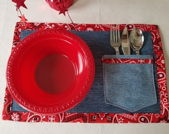 """Placemat, Recycle denim jeans, bandana edging, edging and jeans pocket. Set of four.  14 x 10"""". Reversible"""