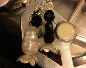 Asymmetrical Black and White Earrings OOAK Pearl and Jet