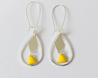 Yellow and Silver Earring