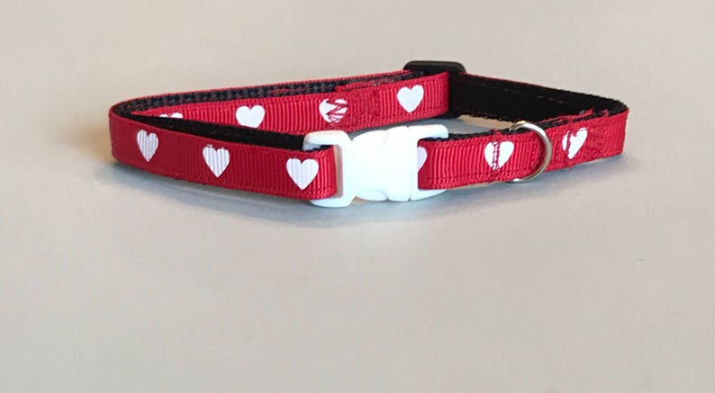 Red with White hearts Dog and Cat Collar