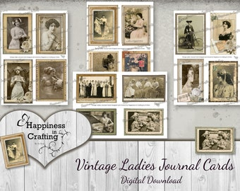 Vintage Ladies Journal Cards - 48 Pieces - Instant Digital Download, Printable, Digital Kit for Junk Journals, Scrapbooking