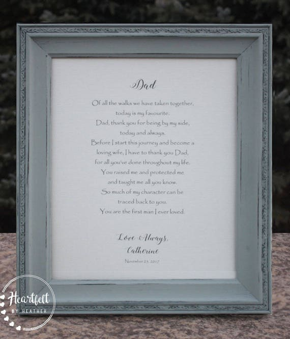 Wedding Gift for Father of the Bride - Wedding Gift for Dad from Daughter -  Dad Wedding Day Poem - Father Wedding Gift - Dad Gift from Bride