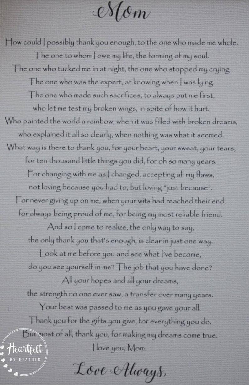 Personnalisé fête des mères grand-mère poème avec dévouement roses coeur nœud ruban # 3