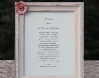 Daycare Thank You Gift Nanny Gift Childcare Provider Appreciation Gift Custom Poetry Custom Distressed Frames Daycare Gift Teacher Preschool