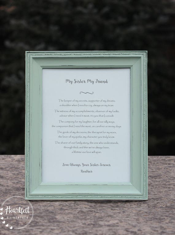 Sister Poem Personalized Gift For Sister Best Friend Birthday Etsy
