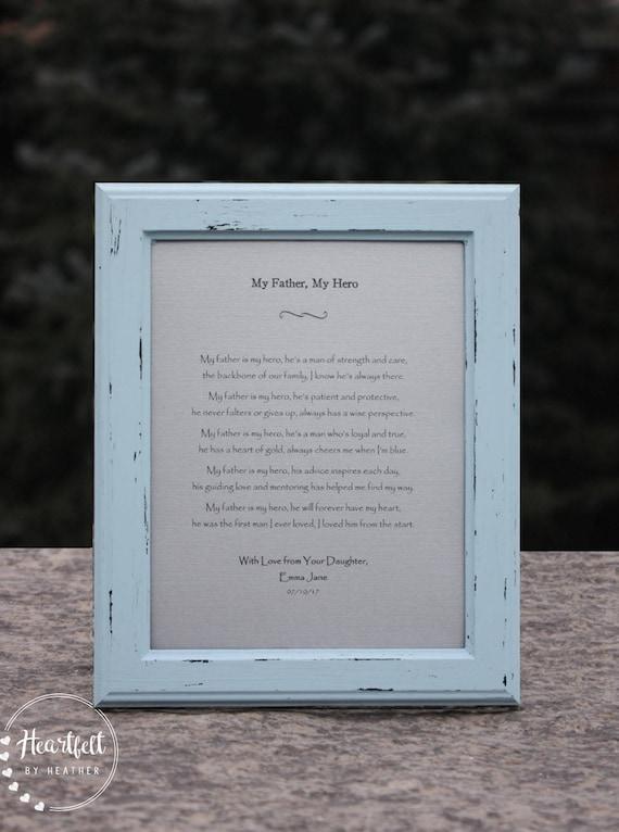 Poème Pour Papa Cadeau Unique Pour La Fête Des Pères Cadeau Père Cadre Rustique De Fille Père De Cadeau De La Mariée En Détresse