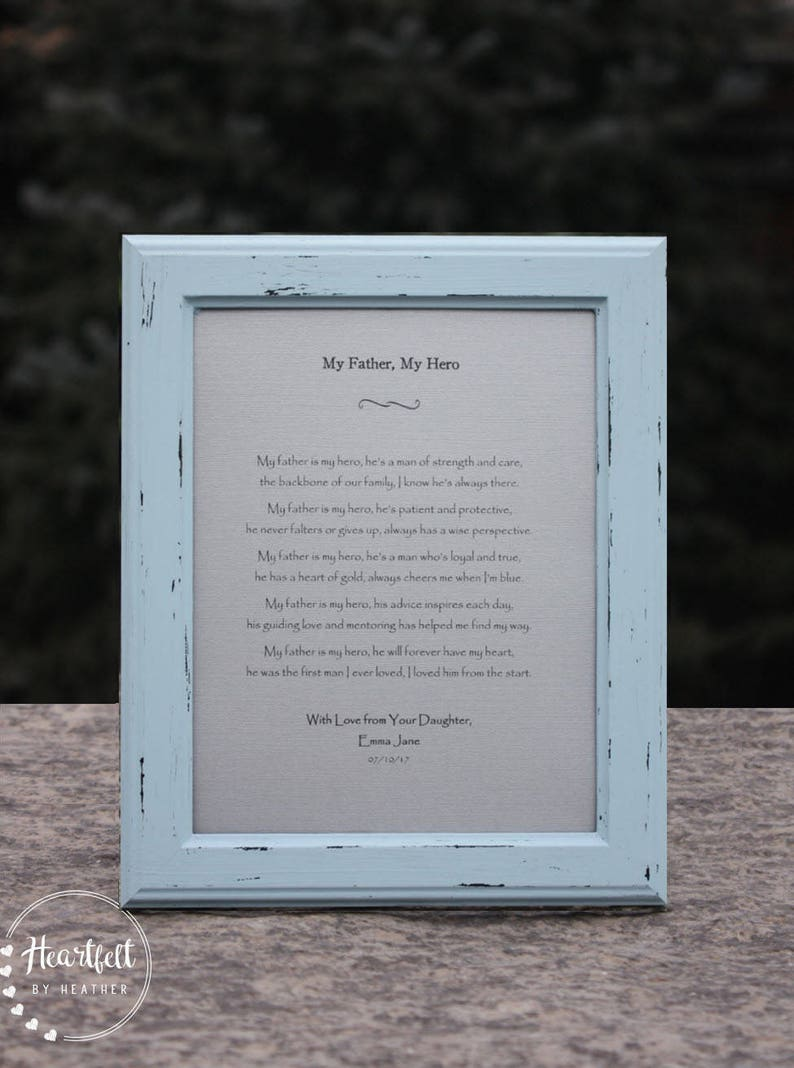 Poem for Dad Unique Gift for Father's Day Distressed Rustic Frame Father  Gift from Daughter Father of the Bride Gift