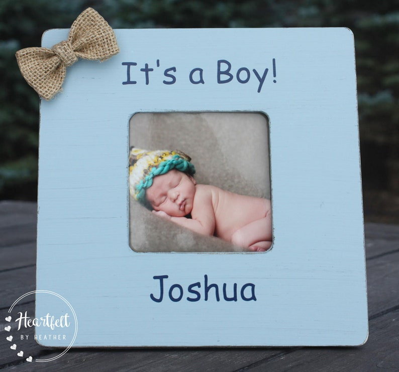 Personalized Picture Frame for New Baby Boy Custom Gift Perfect for Newborn Photos It/'s a Boy Gift