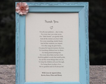 Childcare Thank You Gift Nanny Gift Daycare Provider Appreciation Gift Custom Poetry Custom Distressed Frames Daycare Gift Teacher Preschool
