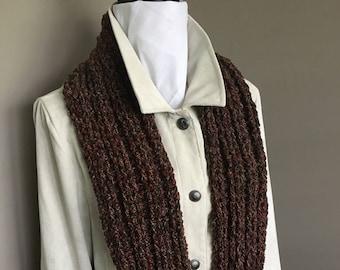 Irish Wool Brown Tweed Scarf, Brown Tweed Scarf, Brown Tweed Neck Warmer, Celtic Scarf, Wool Cable Scarf, Wool Neck Warmer, Tweed Scarf