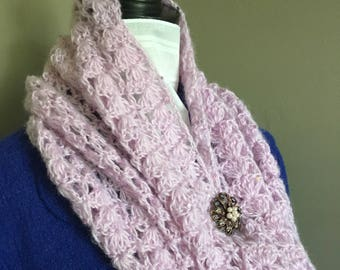 Crochet Mohair Orchid Cowl with Sequins, Mohair Cowl, Crochet Mohair Cowl, Sequins Cowl, Mohair Neck Warmer, Crochet Mohair Neck Warmer