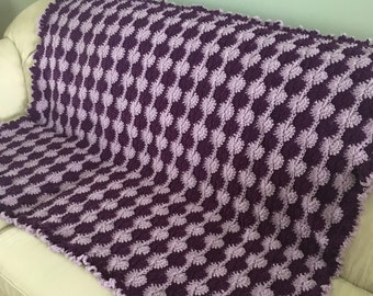 Bursts of Purple Crochet Afghan, Purple Crochet Throw, Purple Crochet Blanket, Housewarming Gift, Gift for Her, Shower Gift, Lavender Throw