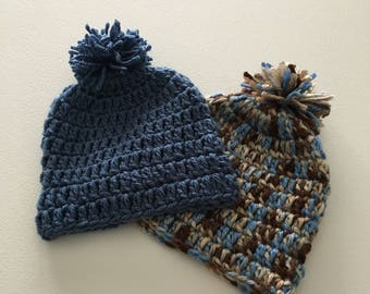 Set of Two New Born Crochet Baby Beanies, Two Crochet Baby Boy Beanies, Crochet New Born Hats, Baby Shower Gift, Baby Beanies with Pom Pom