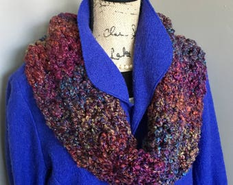 Super Chunky Acrylic Multi Color Crochet Cowl with Metallic Thread, Chunky Crochet Multi Color Cowl, Soft Chunky Crochet Cowl, Neck Warmer