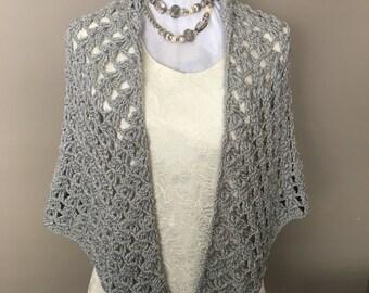 Silver Wedding Shawl, Crochet Wedding Shawl, Elegant Shawl, Gift for Her, Bridal Shawl, Bridesmaid Shawl, Prom Shawl, Mothers Day Gift