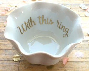 Wedding Ring Dish - Flower Ring Dish - With this ring Trinket Holder - Gold Flower Dish