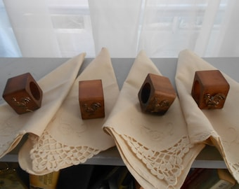 Vintage Napkins and Napkin Ring Holders