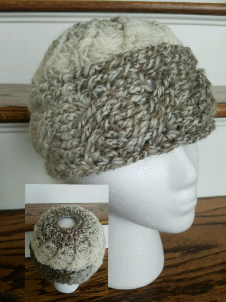 5e187cc5 Crochet Pattern PDF. Cabled Messy Bun Ponytail Hat. | Etsy