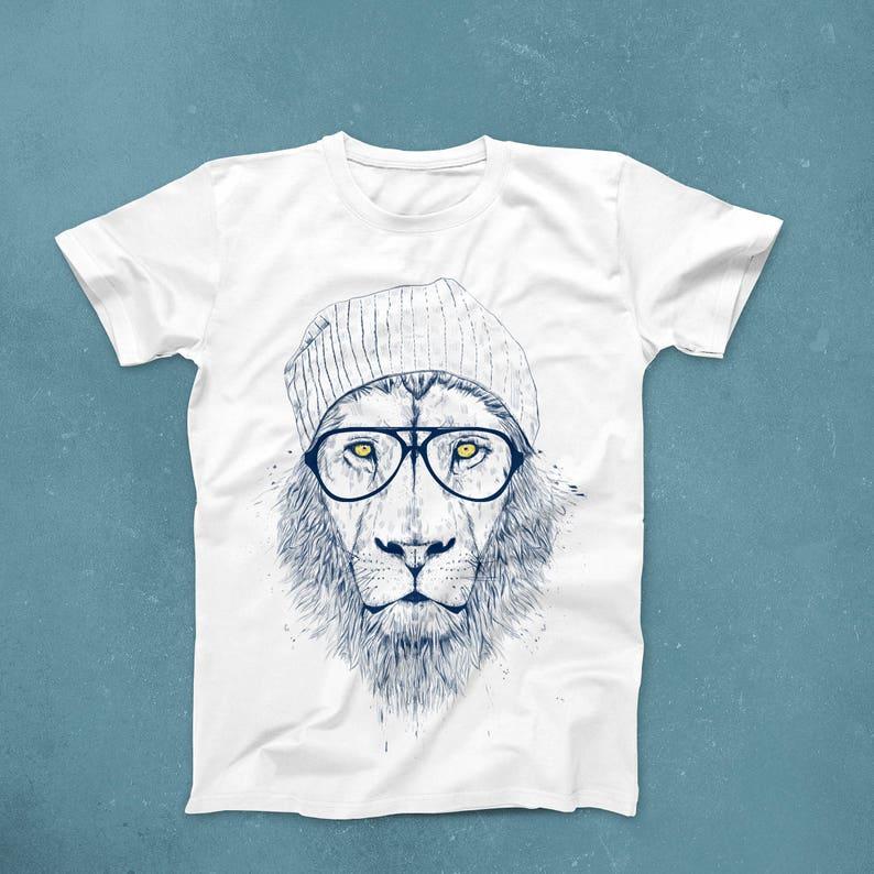 d44ed50a395f4b Hipster-Löwe-t-Shirt Löwe Männer T-shirt Hipster Löwe Frauen