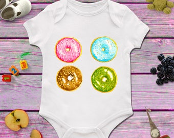 Doughnut baby bodysuit, Baby girl bodysuit, Sweet baby bodysuit, 1st birthday present, Baby shower girl, Baby shower, Baby shower present