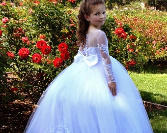 fdbf24c4cf5f Off Shoulder White Flower Girl Dress Tulle First Communion Baptism Dress  Lace Flower Girl Dresses Princess Baby Toddler Birthday Party Dress