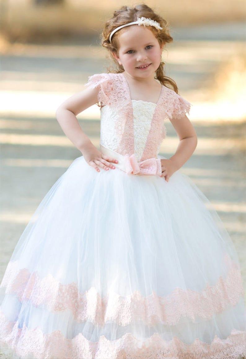 Pink Ivory Flower Girl Dress Lace Flower Girl Dresses Kids Party Christmas Dress Holiday Dress Birthday Dress Princess Dress Vintage Dress