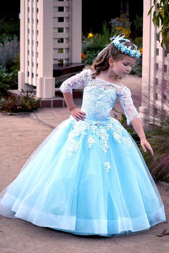 3411260ed69d Off shoulder flower girl dress Blue wedding flower girls | Etsy