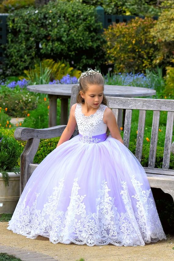 Purple Flower Girl Dress Lavender Wedding Lace Flower Girl | Etsy