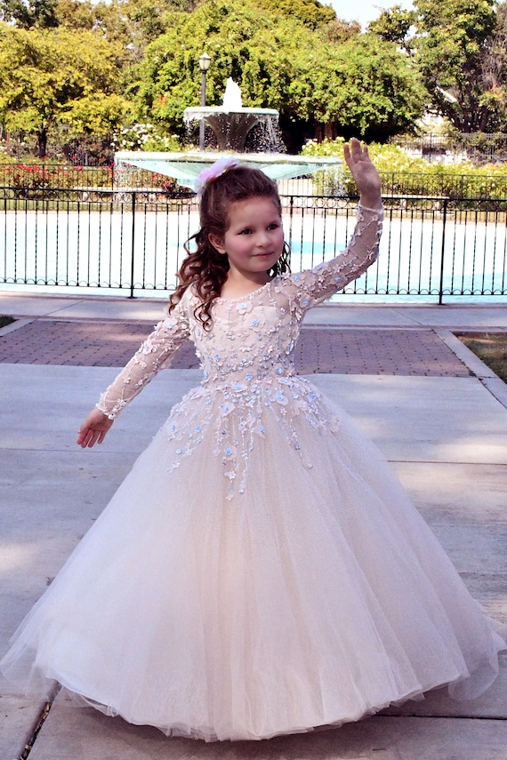 2a9983f9a64 Pink Champagne Flower girl dress Baby Girl gown Tulle Pageant