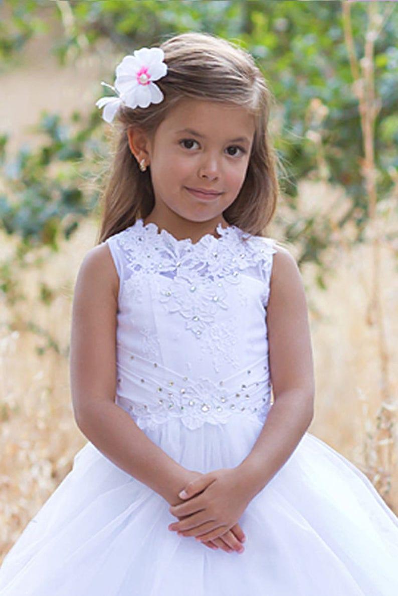 White flower girl dress Birthday Tutu Princess Dress Lace wedding girls Kids party dress First Communion Baptism Baby Toddler