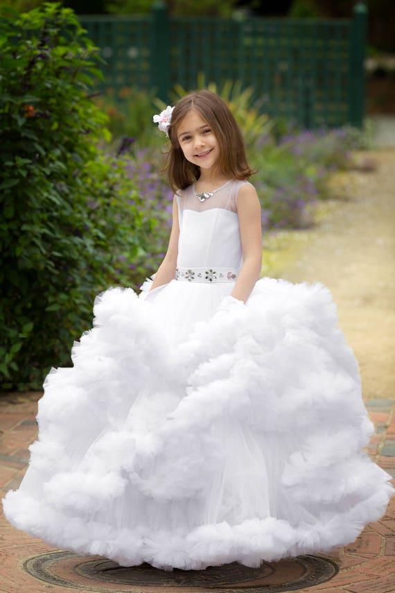 White Flower Girl Dress Princess Ruffle Toddler Girl Christmas Etsy