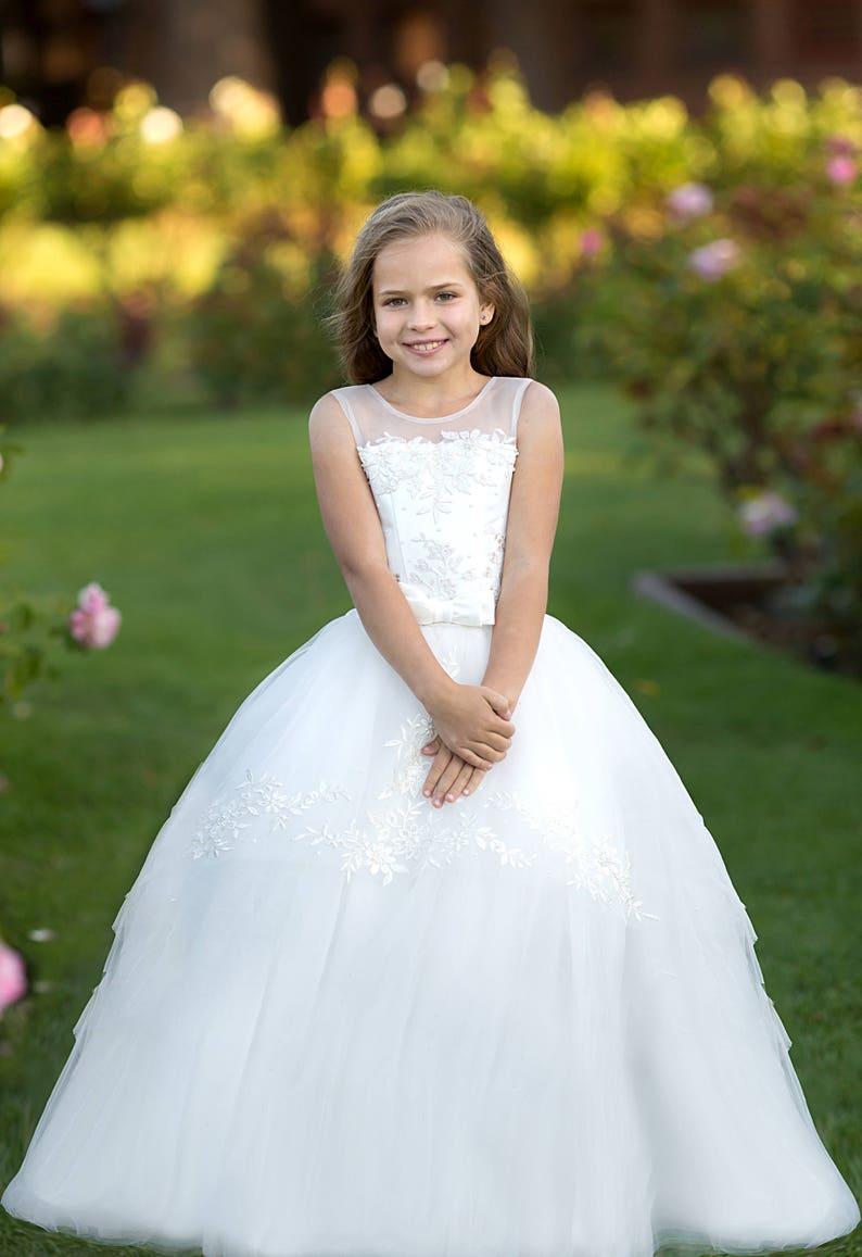 0bfda247c3658 Ivoire fleur fille robe dentelle filles mariage princesse