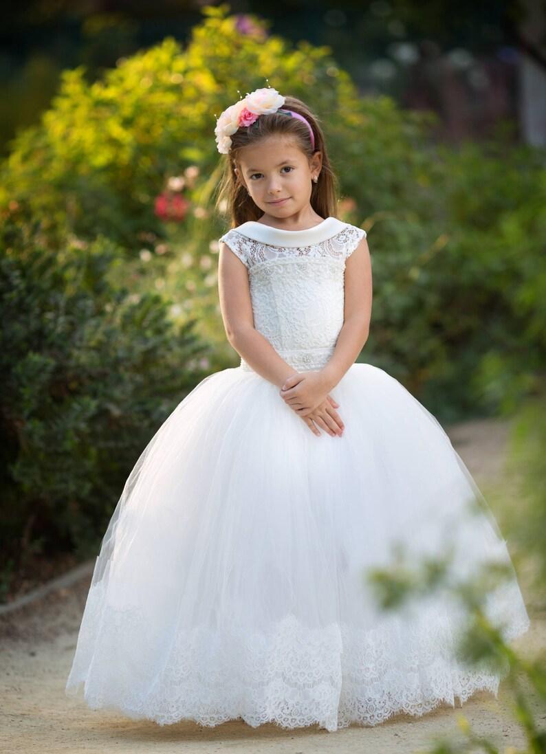 846daec61580f Ivoire fleur fille robe Tulle dentelle filles mariage occasion