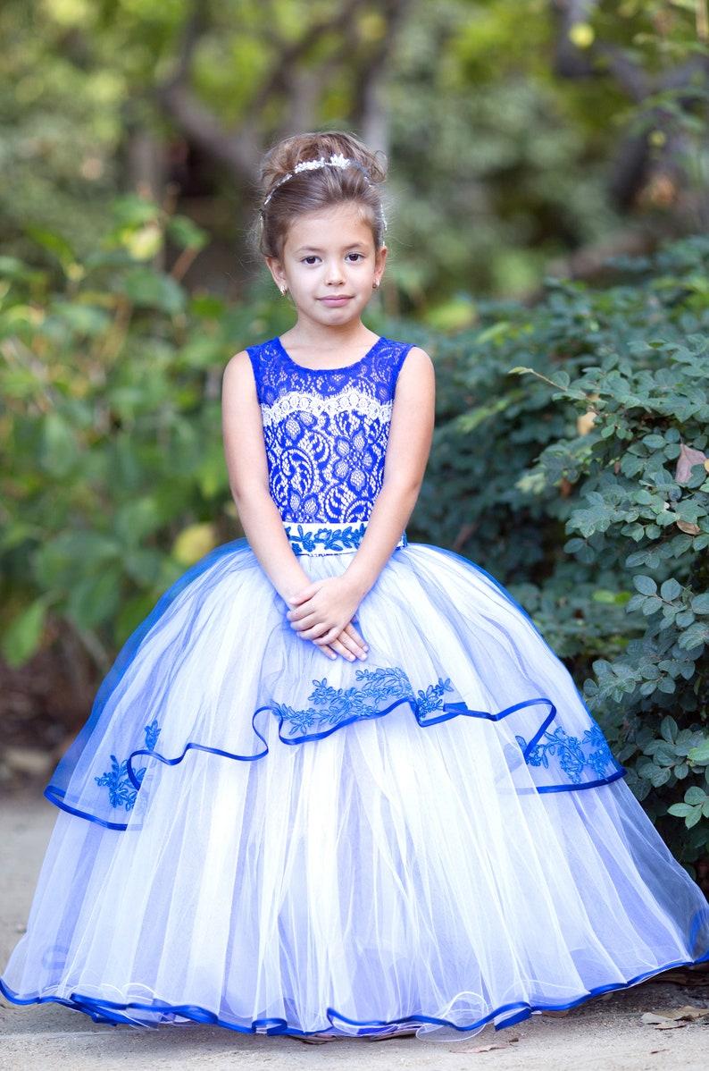 159a49ef38251 Royal Blue flower girl dress Wedding Lace Princess Girls Party Birthday  Tutu Toddler Baby Dress
