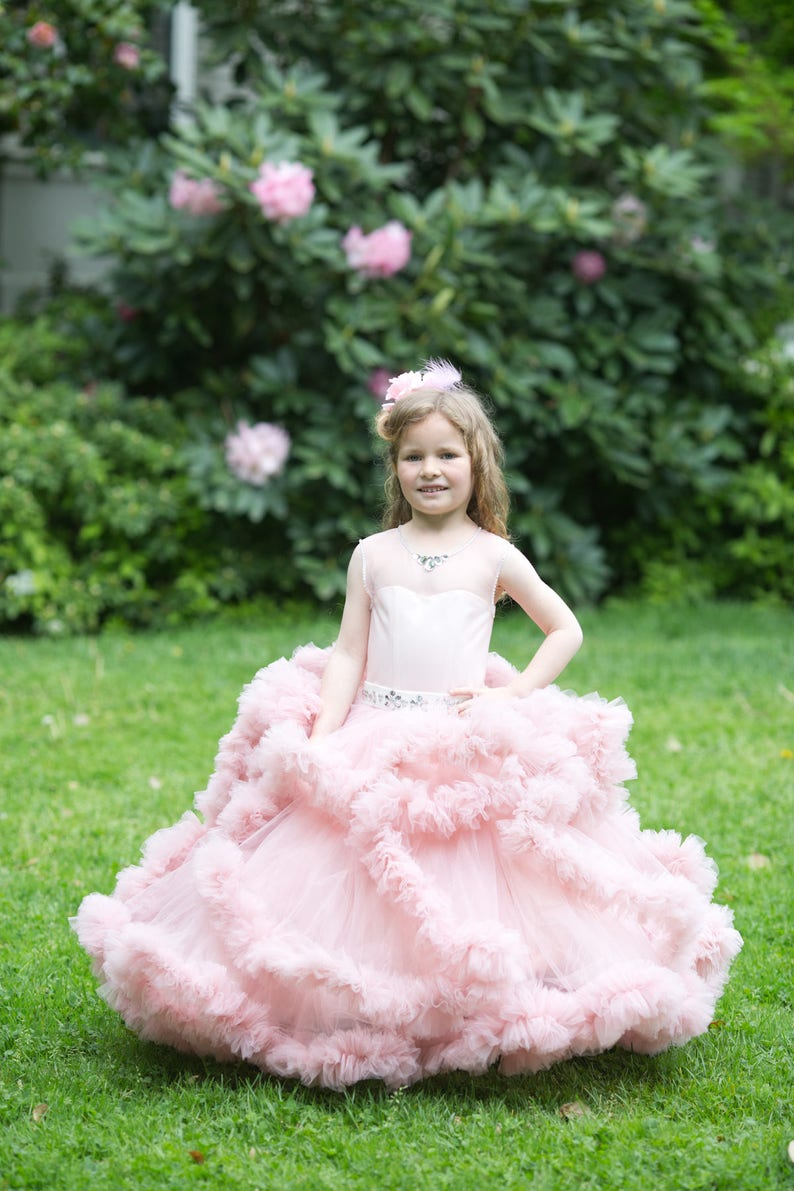 679180246d4561 Robes de fille de fleur fille robe fleur rose de princesse robe Blush  mariage volant anniversaire bébé robe fille mariage robe Tutu occasion ...