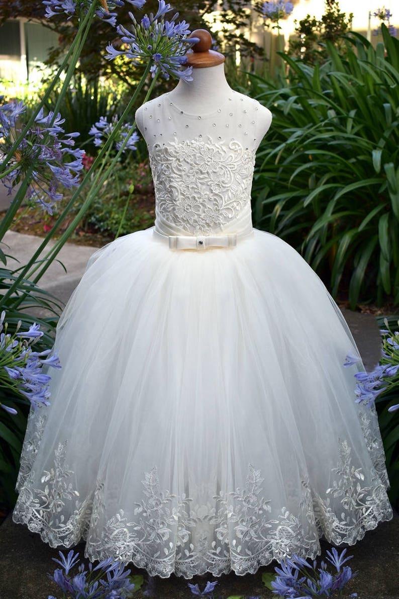 f4029f0bc0c1a Ivoire fleur fille robe soirée filles dentelle robe bébé