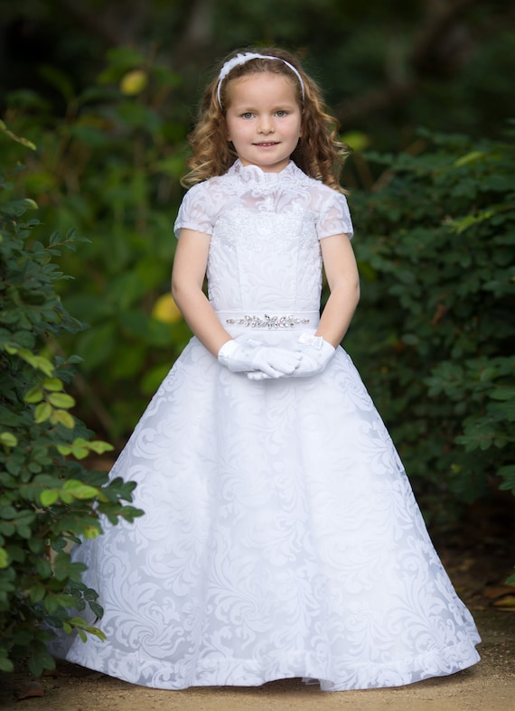 d15abae8d37 White flower girl dress Lace girls party dress Baby Toddler