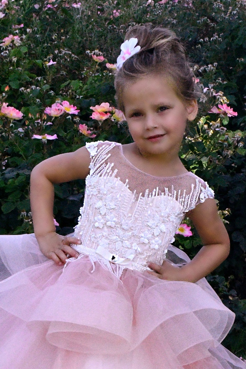 Pink  flower girl dress Lace girls party dress Baby Toddler Birthday Princess Girls wedding dress First Communion Baptism Special occasion