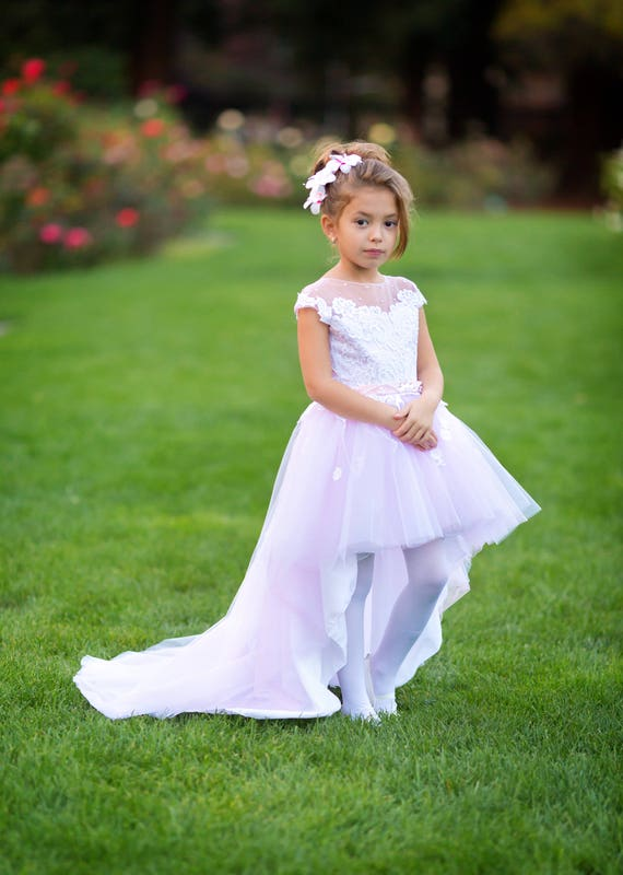 Pink flower girl dress Tulle High low Princess Birthday Tutu Baby Toddler Girls wedding party off shoulder girl's dress