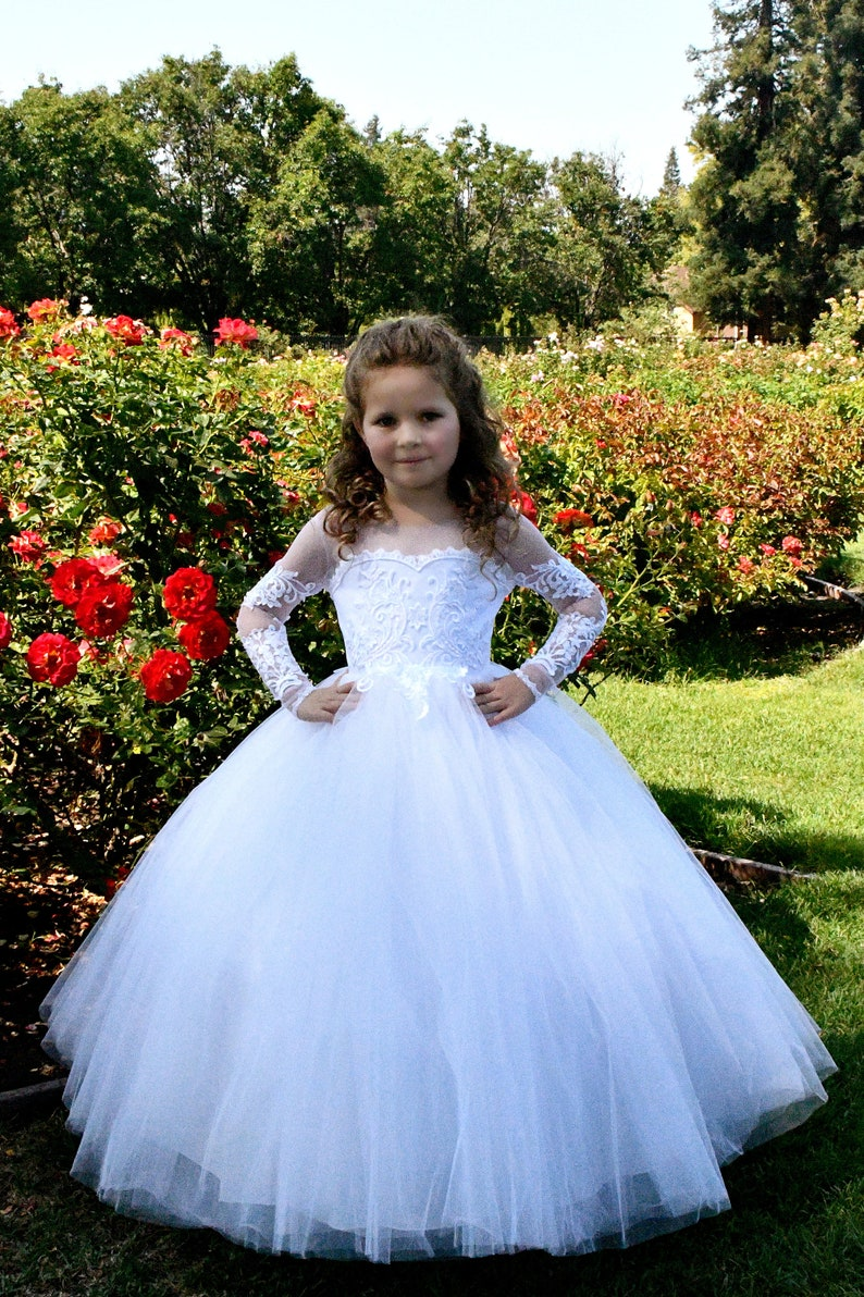 8225e90cd Off shoulder White flower girl dress Tulle First Communion | Etsy