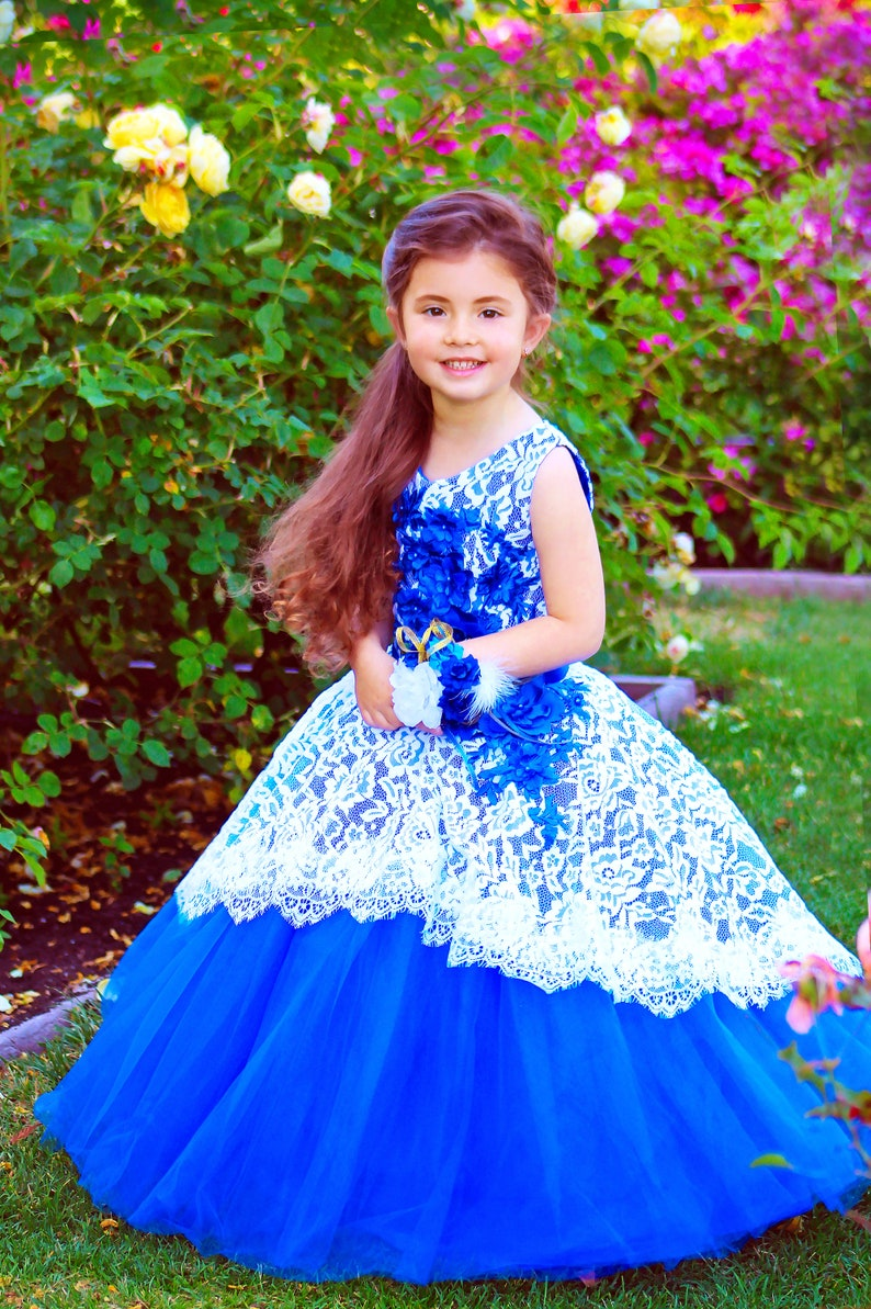 3c2d31de9 Royal Blue Wedding Lace Flower Girl Dress Blue Flower girl | Etsy