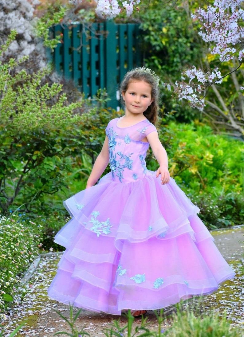b78b6661fa4 Lavender flower girl dress Lilac wedding Lace girls Applique
