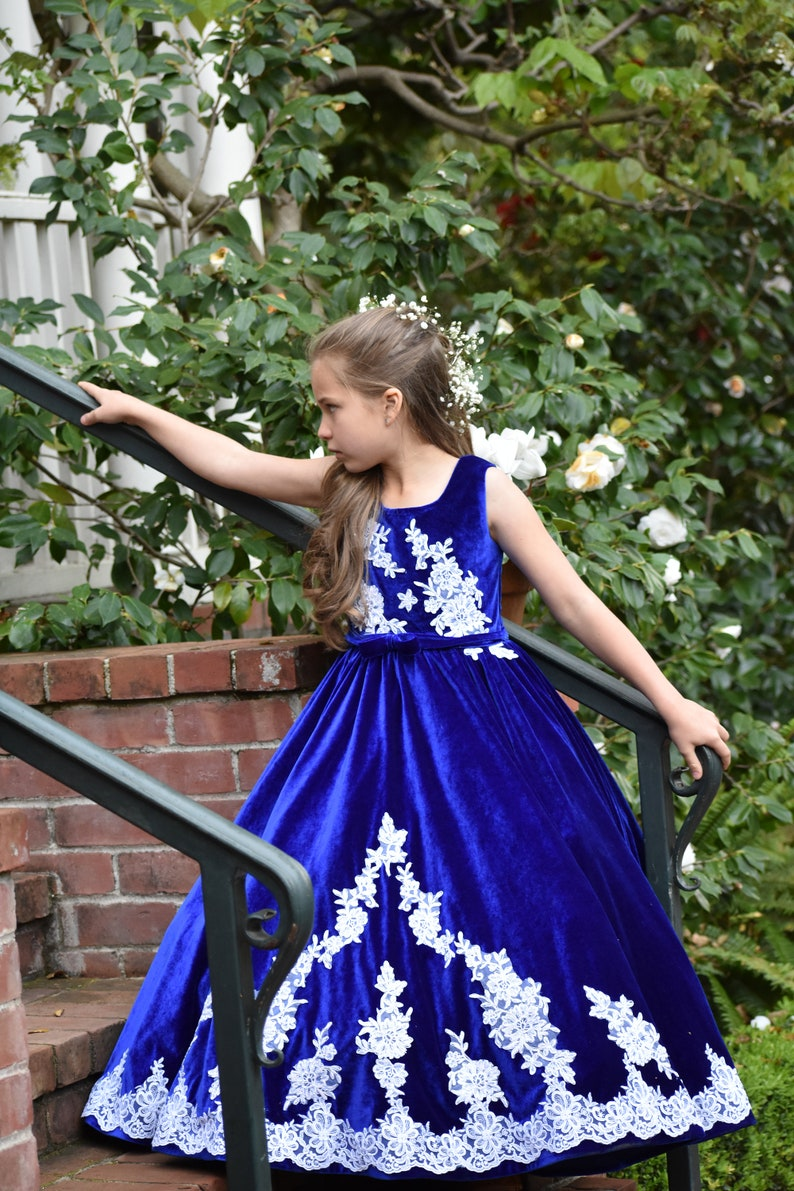 7ee3315bf Royal Blue White flower girl dress Baby Toddler Birthday | Etsy