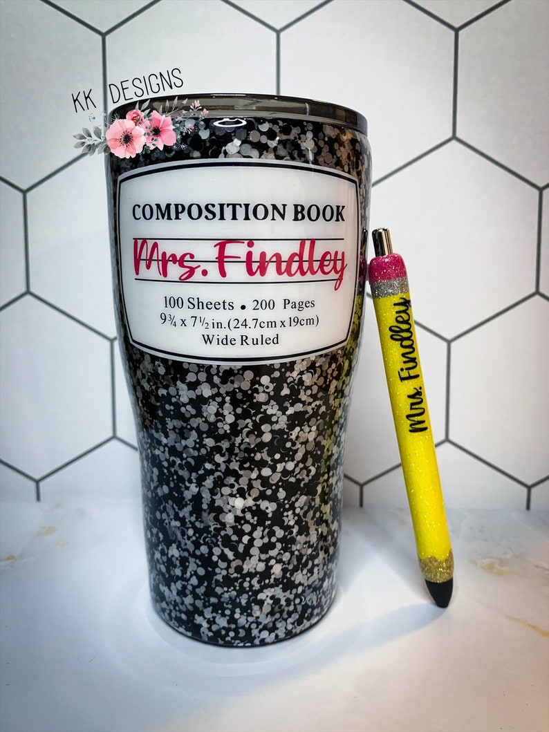 Teacher Composition Notebook Back to School Glitter Tumbler image 0