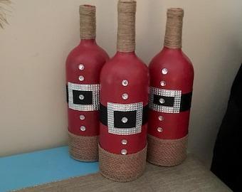 christmas wine bottles christmas home decor santa home decor santa wine bottles christmas decorations